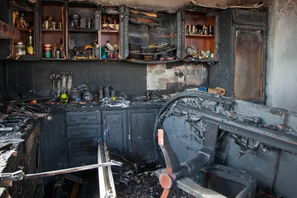 fire damaged room